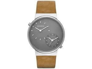 Men's Skagen Ancher Dual-Time Leather Strap Watch SKW6190