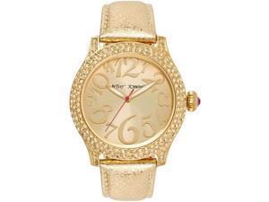 Women's Metallic Gold Betsey Johnson Crystallized Watch BJ00019-59