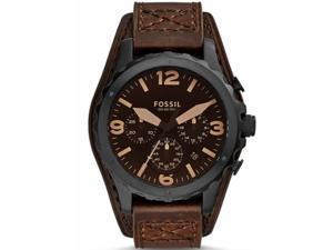 Men's Fossil Nate Chronograph Brown Leather Cuff Watch JR1511