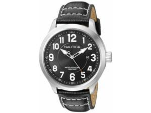 Men's Nautica NCC 01 Black Leather Strap Watch NAD10004G