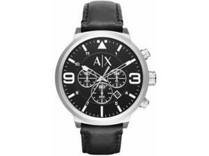 Men's Armani Exchange ATLC Black Leather Strap Chronograph Watch AX1371