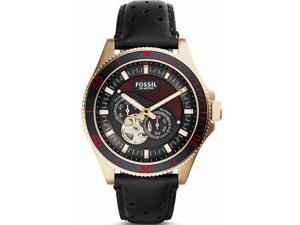 Men's Fossil Wakefield Automatic Black Leather Watch ME3091