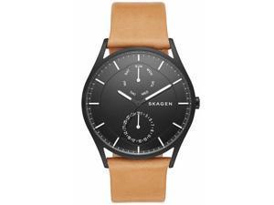 Men's Skagen Holst Multifunction Brown Leather Watch SKW6265