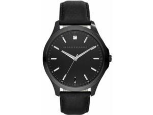 Men's Armani Exchange Hampton Black Leather Strap Diamond Accent Watch AX2171