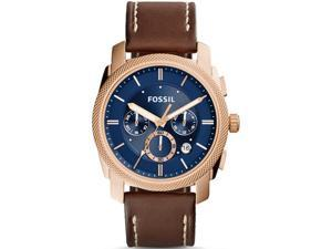Men's Fossil Machine Chronograph Leather Strap Watch FS5073