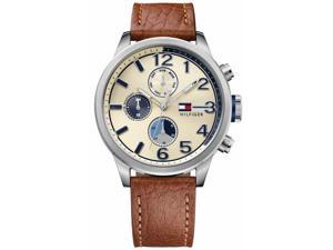 Mens Tommy Hilfiger Jackson Brown Leather Chronograph Watch 1791239