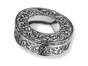 Silver-plated Antiqued Oval Jewelry Box