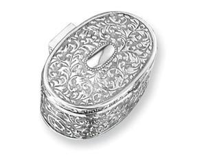 Silver-plated Antique Oval Jewelry Box