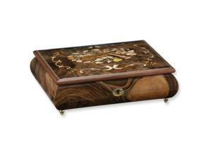Walnut Burlwood Finish Violin and Trumpet Inlay Musical Jewelry Box