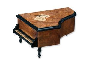 Walnut Burlwood Finish w/ Inlay Piano Shaped Musical Jewelry Box
