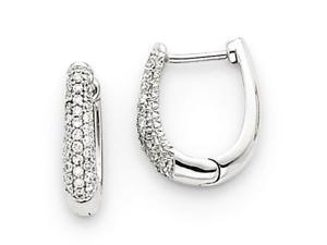 14k White Gold Diamond Hinged Hoop Earrings Diamond quality AA (I1 clarity, G-I color)