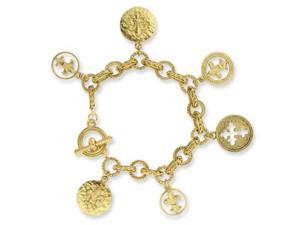 Gold-tone Blessed Flower of the Lily 7.5in Charm Bracelet