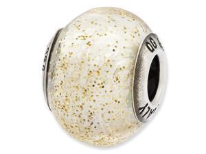 Sterling Silver Reflections Italian White w/Gold Glitter Glass Bead