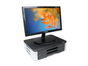 "Dyconn Wood Top Adjustable Monitor Stand w/ Swivel & 3 Drawers - Adjustable 1.75"" to 4.25"" or More"