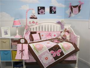 SoHo Sweetie Garden Baby Crib Nursery Bedding Set 14 pcs included Diaper Bag with Changing Pad, Accessory Case & Bottle Case