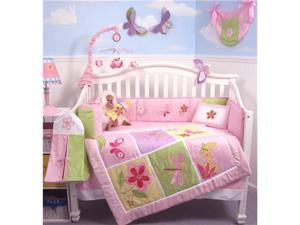 SoHo Butterflies Meadows Baby Crib Nursery Bedding Set 14 pcs included Diaper Bag with Changing Pad, Accessory Case & Bottle Case