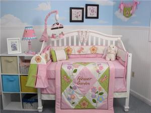 SoHo Designs Mystic Garden Baby Crib Nursery Bedding Set 14 pcs included Diaper Bag with Changing Pad, Accessory Case & Bottle Case