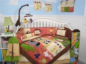 SoHo Designs 1234 Jungle Friends Baby Crib Nursery Bedding Set 14 pcs included Diaper Bag with Changing Pad, Accessory Case & Bottle Case