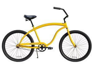 "Firmstrong Bruiser Prestige Single Speed Men's 26"" Beach Cruiser, Yellow"
