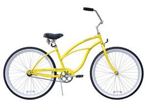 "Firmstrong Urban Lady Single Speed,  Yellow - Women's 26"" Beach Cruiser Bike"