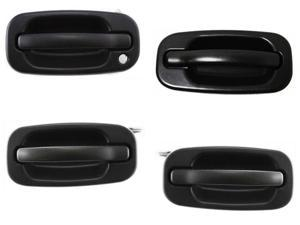 Tahoe Gmc Yukon Sierra Denali Xl 99 - 07 Front Rear Textured Blk Door Handle Set