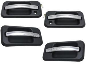 Hummer H2 Sut 03 - 05 Front Rear Outer Black With Chrome Trim Door Handle Set