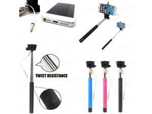 Pink Wired Selfie Stick MONOPOD Handheld Telescopic Holder w/ Built-in Shutter