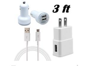 Micro USB Data Sync Cable + Home Wall Plug Adapter + 2.1A Dual Port Car Charger (3ft)
