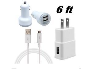 Micro USB Data Sync Cable + Home Wall Plug Adapter + 2.1A Dual Port Car Charger (6ft)