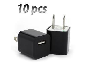 Lot 10 pcs Home USB AC Wall Plug Cube Charger Adapter for Apple Devices - Black