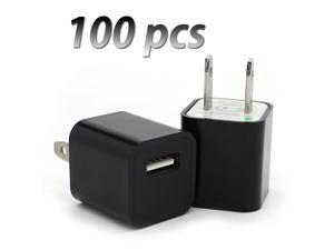 100 pcs X Home USB AC Wall Plug Charger Cube Adapter for Apple Devices (BLACK)