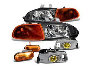 Honda Civic 2 3 Dr Dx Lx Black Headlights, Corner, Fog Lights, Side Marker