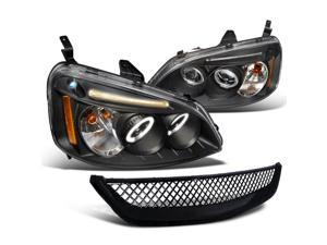 Honda Civic Dx Ex Black Led Halo Projector Headlights, Black Grill