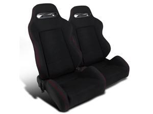 2pcs Jdm Black High Quality Cloth, Fully Reclinable, Racing Seats