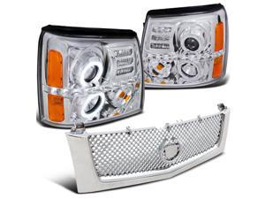 Cadillac Escalade Ext Esv Base, Chrome Halo Led Projector Headlights, Mesh Grill
