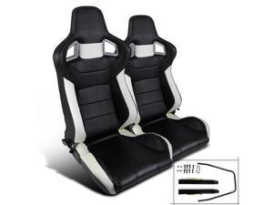 JDM Sport Racing Seats Reclinable Style Black And White Pair