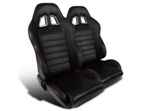 2 Recaro Style Jdm Black, Red Stitch Stripes, Fully Reclinable, Racing Seats