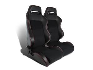Pair Recaro Style Jdm Black Leather Red Stitching Fully Reclinable Racing Seats