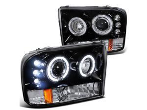 Ford F250 Led Dual Halo Glossy Black Projector Head Lights