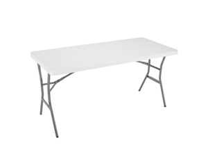 Lifetime 5-Foot Light Commercial Fold-In-Half Table - White Granite