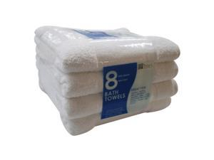 "Bath Towels - White - 25"" x 54"" - 8 pk."