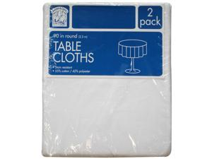 "Bakers & Chefs Round Tablecloth - White - 90"" - 2 pk."