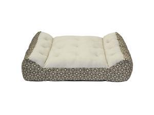 "Member's Mark Large Lounger Pet Bed, 38"" x 28"" (Brown Geo Pattern)"