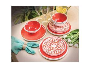18-Piece Melamine Dinnerware Set, Coral