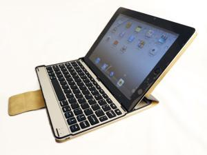 GSAstore Stylish Premium Quality Faux Leather Folio with Aluminum Bluetooth Keyboard / Stand for Apple New iPad 3/ iPad 2.