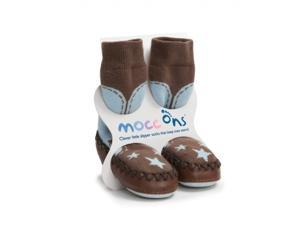 Mocc Ons Clever Little Slipper Socks That Keep Toes Warm! Cowboy Blue 18 - 24M