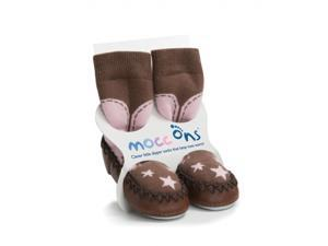 Mocc Ons Clever Little Slipper Socks That Keep Toes Warm! Cowboy Pink 6-12M