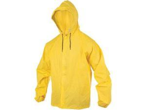 O2 Hooded Rain Jacket with Drop Tail: Yellow~ SM