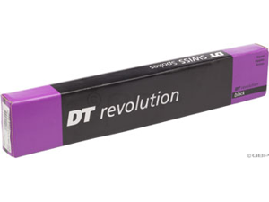 DT Swiss Revolution 2.0/1.5 x 265mm black spokes. Box of 72 with silver alloy