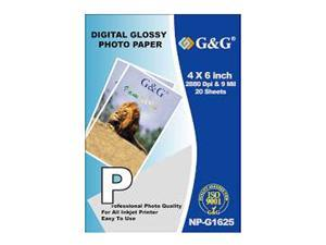 G&G 4 X 6 Inch Digital Glossy Photo Paper - 20 Sheets